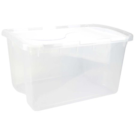 Sterilite 1914 Single 48 Quart Clear Base Hinged Lid Storage Box Tote Container