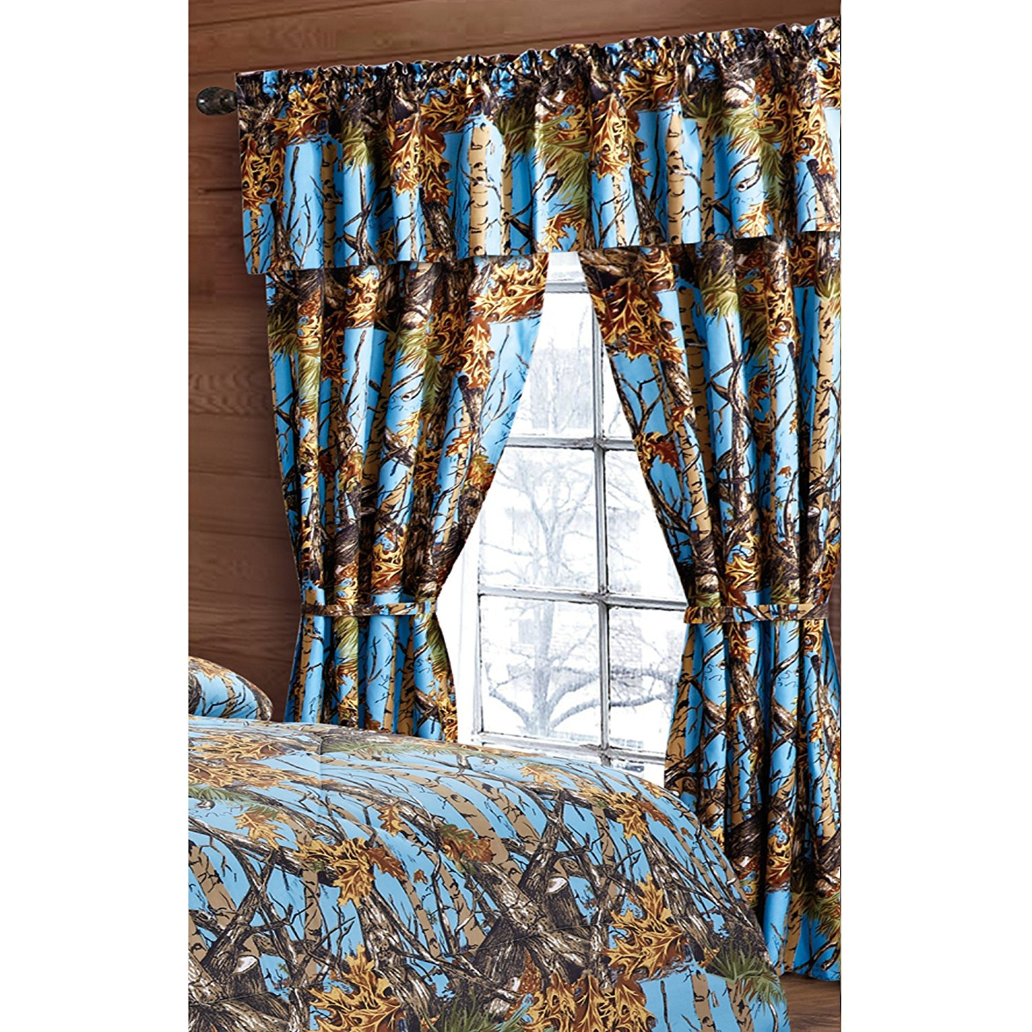 Regal Comfort The Woods Powder Blue Camouflage 5pc Curtain Set For Hunters Cabin or Rustic Lodge Teens Boys and Girls (Curtain , Powder Blue)