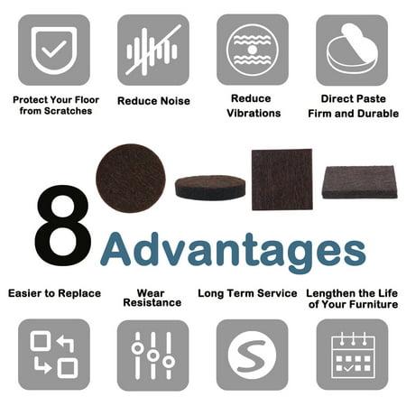 Felt Furniture Pad Self Adhesive Anti-scratch Floor Protector Dark Brown 58pcs - image 5 de 8