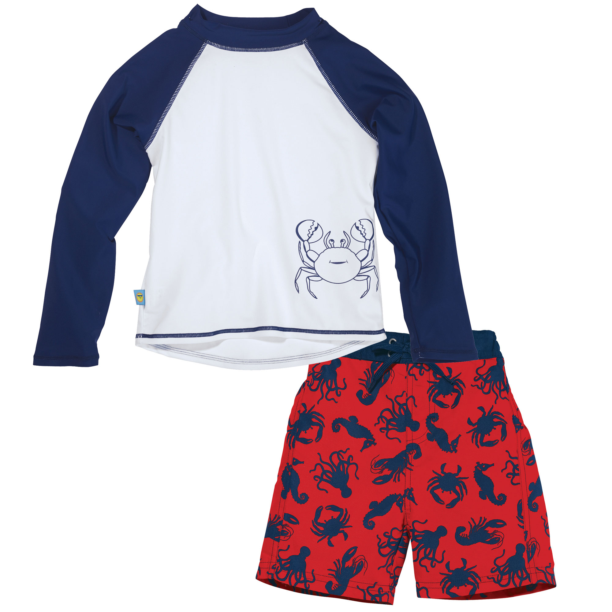 Sun Smarties Baby Boy Swim Diaper and Rashguard - Red, White and Blue Sealife - Boardshorts and Long Sleeve Swim Shirt