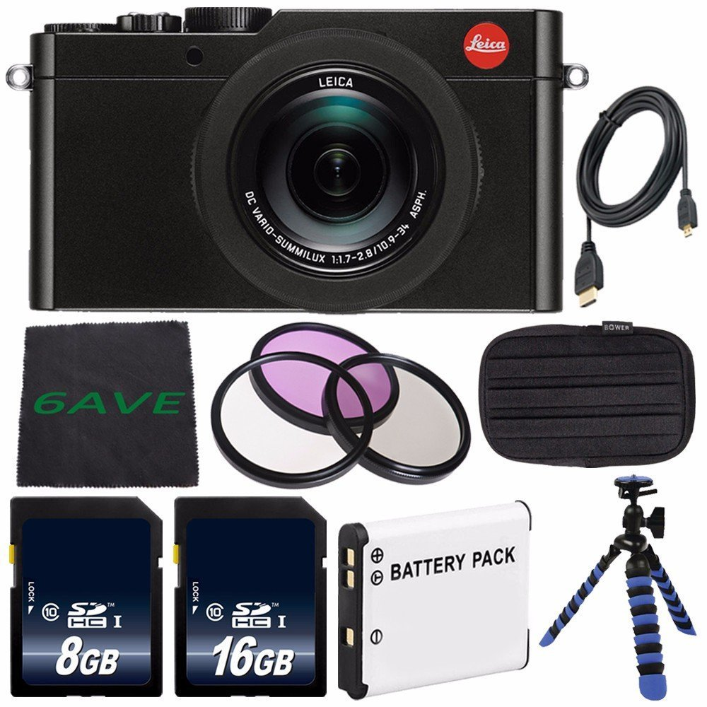 Leica D-LUX (Typ 109) Digital Camera (Black) (International Model no Warranty) + DMW-BLE9 Replacement Lithium Ion Battery + Flexible Tripod with Gripping Rubber Legs + Mini HDMI Cable Bundle 24