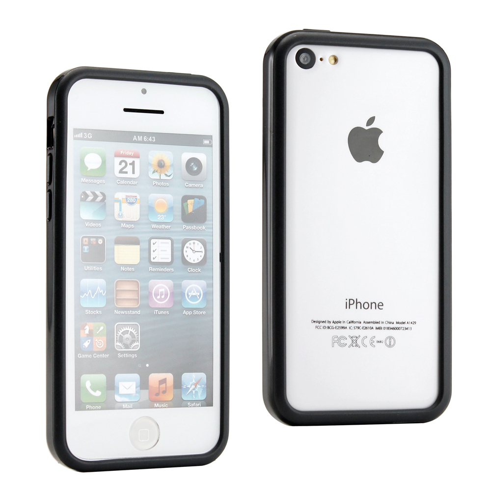 New 2016 Black Hybrid Hard PC + TPU Glossy Frame Bumper Case Cover For iPhone 5 5C 5S