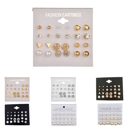 outdoorline 12 Pairs Rhinestone Geometric Shaped Women Girl Earrings Ear Studs Alloy Earrings Jewerly - image 2 de 9
