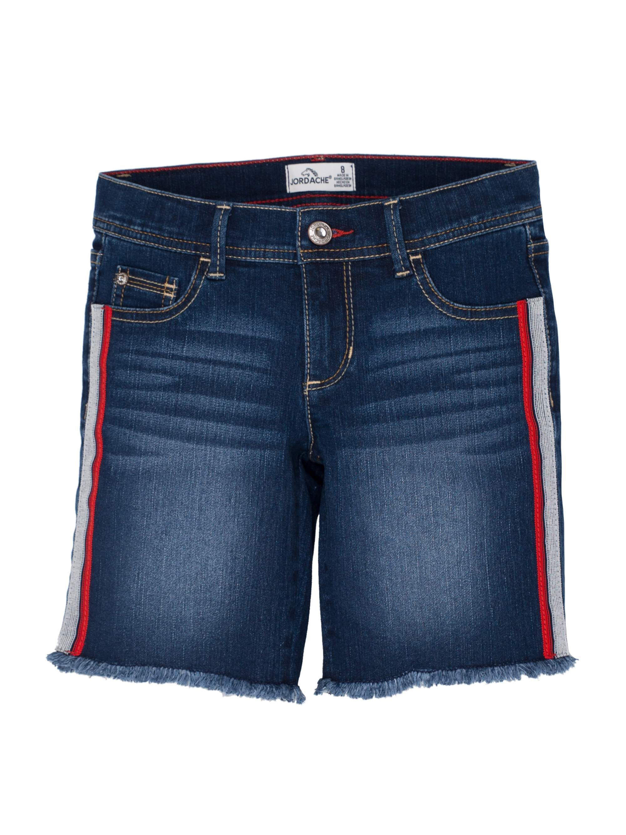 Side Stripe Denim Bermuda Short (Little Girls & Big Girls)
