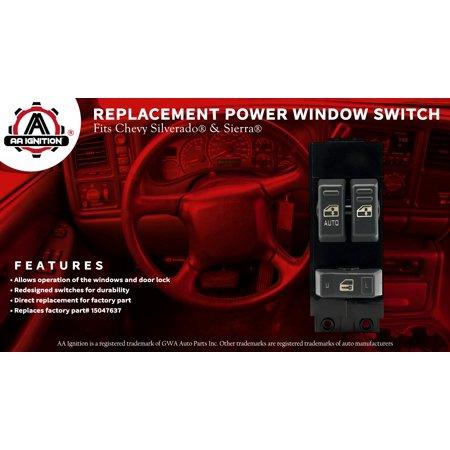Master Power Window Switch - Driver Side Door - Chevrolet Silverado, GMC  Sierra 1999, 2000, 2001, 2002 - 1500, 2500, 2500 HD, 3500 - Window Switch,