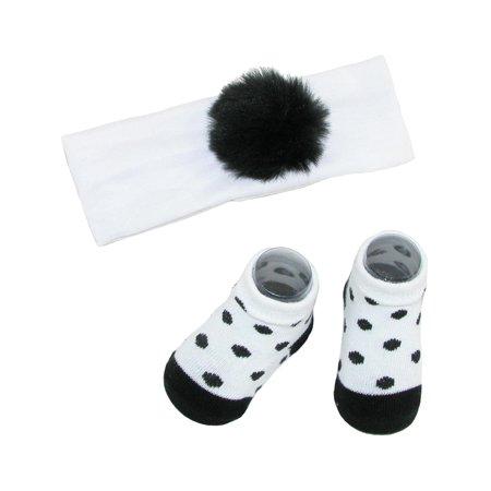 Baby Girl's Faux Fur Pom Headband and Sock Set