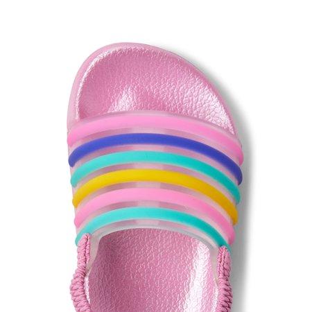 Wonder Nation Rainbow Stripe Slide Sandal (Toddler Girls)
