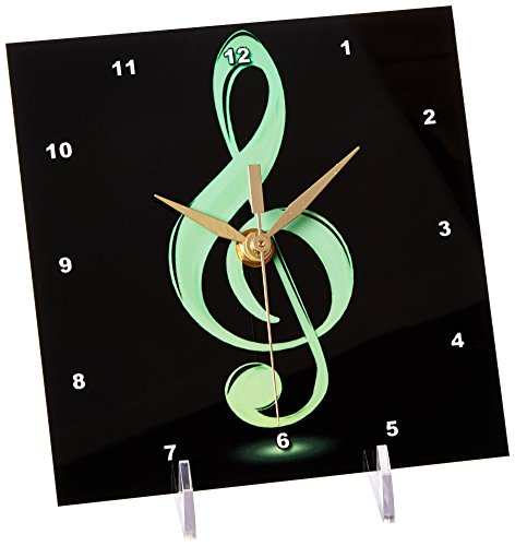 3dRose Lime Green Treble Clef, Desk Clock, 6 by 6-inch by 3dRose