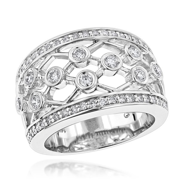Luxurman Wide 14k Unique Diamond Right Hand Ring For Women White Gold Size 7 Walmart Com Walmart Com