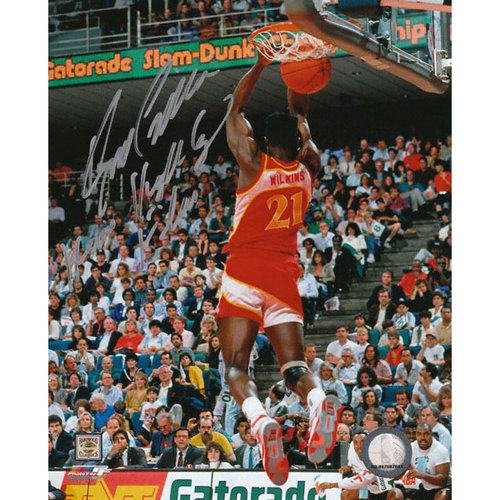 NBA - Dominique Wilkins Atlanta Hawks - Dunk Contest - Autographed 8x10 Photograph with Human Highlght Reel Inscription