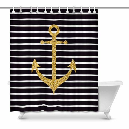 MKHERT Modern Gold Sparkle Anchor On Black And White Striped Line House Decor Shower Curtain For