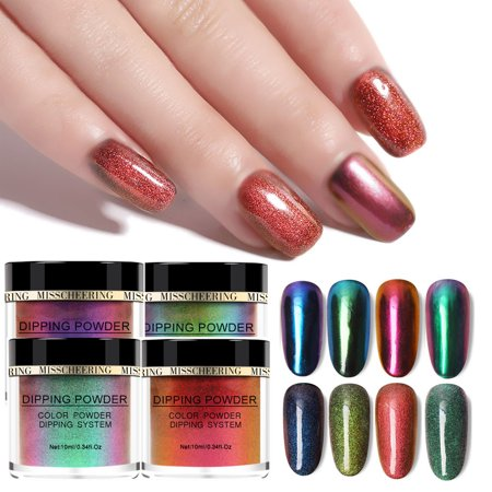 Iuhan 4PCS Chameleon Dip Powder Without Lamp Cure Natural Dry Nail Art Mirror Effect