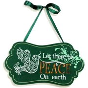 """12"""" Length Light Up Wide Oval Dove Green Plaque - Peace"""