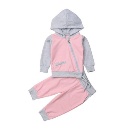 2Pcs New Toddler Kids Baby Girls Long Sleeve Hooded Sweat Shirt Tops+Pants Outfits Set -