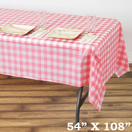 Disposable Checkered Tablecloths (Efavormart 10 Pcs Gorgeous Checkered Rectangle Disposable Plastic Table Cover for Kitchen Dining Catering Wedding Birthday)