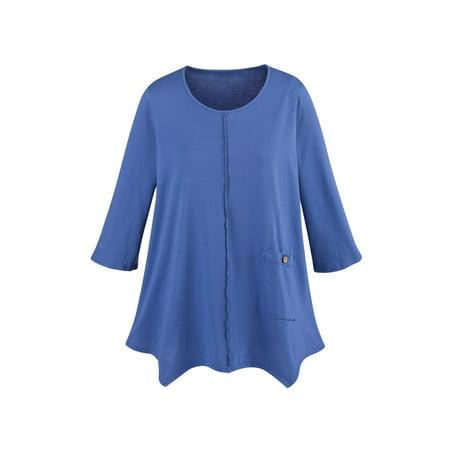 Focus Fashions Women's Single Pocket Knit Tunic Top - 100% Supima Cotton