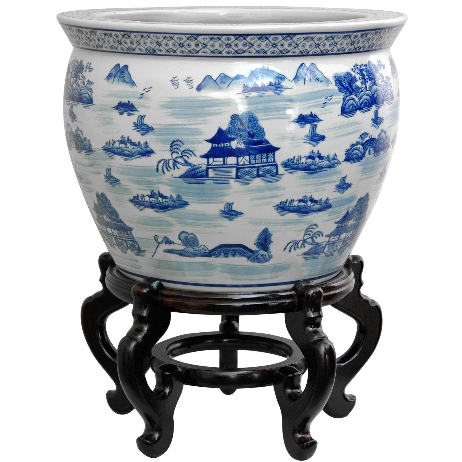 "20"" Porcelain Fishbowl Blue & White Landscape"