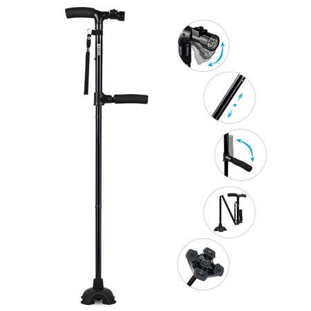Foldable Walking Cane - Anauto Walking Cane Handle Foldable Cane With LED Lights Walking Stick Pivot Base Reliable Black
