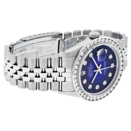 Best Pre-Owned Rolex Mens Datejust Steel and 18K White Gold Blue Vignette 3.10 Carat Diamond Watch Jubilee Quickset deal