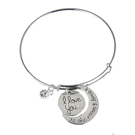 I LOVE YOU Bangle Bracelet Mothers Day I Love You To The Moon Gift (Bracelets For Mother's Day)