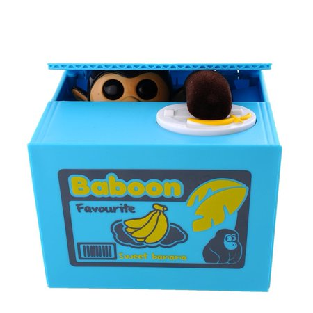 Cute Mischief Coin Stealing Baboon Monkey Piggy Bank Money Saving Monkey Banana Toy Box [Funny Automated Gift for Kids]