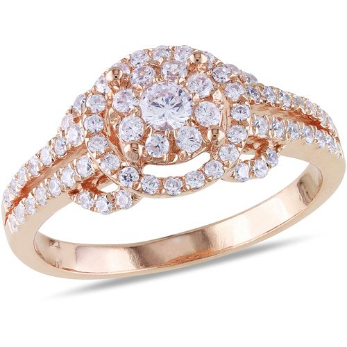 1.02 Carat T.G.W. CZ 18kt Rose Gold over Sterling Silver Flower Ring