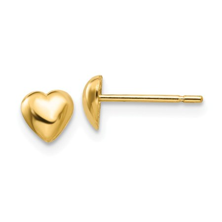 14k Yellow Gold Heart Post Earrings - .6 Grams