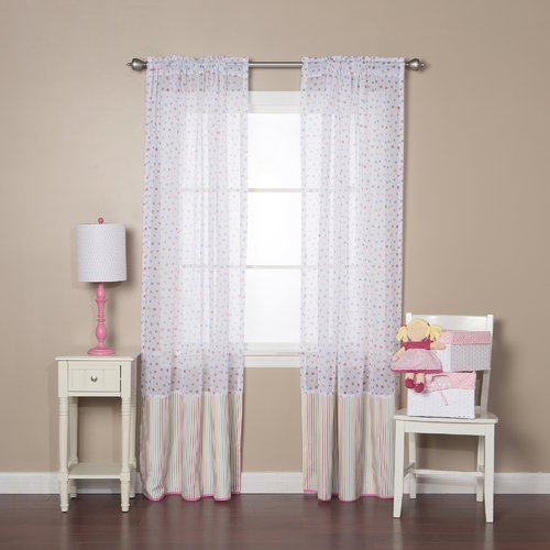 Best Home Fashion, Inc. Polka Dots Sheer Rod Pocket Curtain Panels (Set of 2)