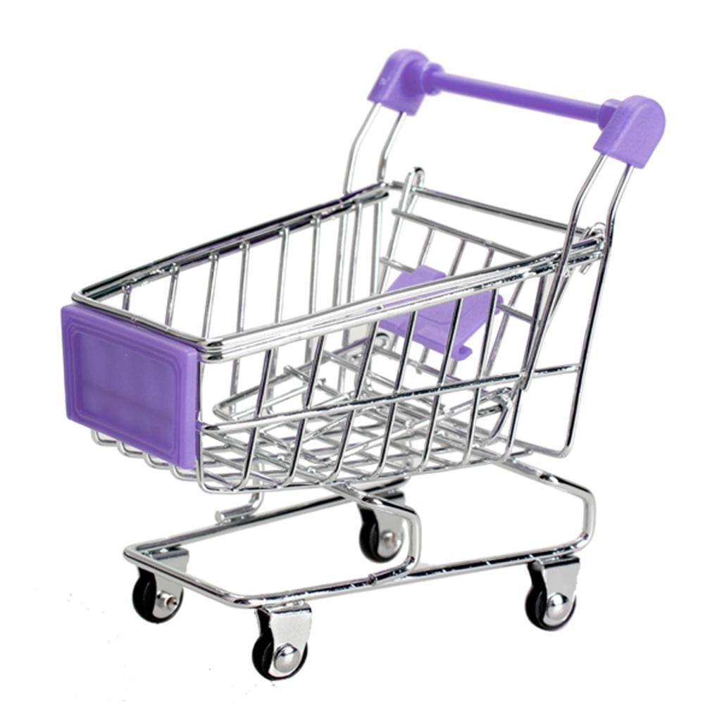 Creative Baby Metal Mini Shopping Cart Crafts Ornaments Trolley Storage Car #EB