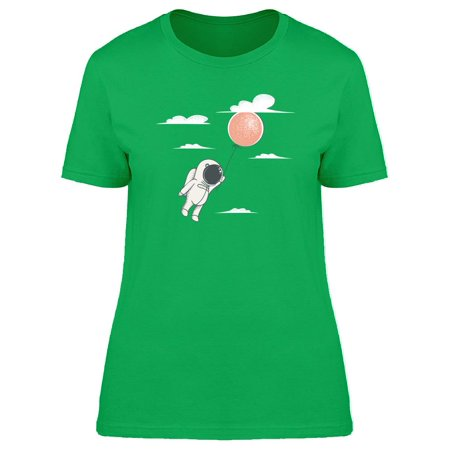Astronaut Fly With Red Balloon Tee Women's -Image by Shutterstock