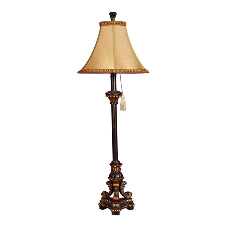Decmode 31 Inch Traditional Corded And Tasseled Resin Buffet Lamp, (Damask Buffet Lamp)