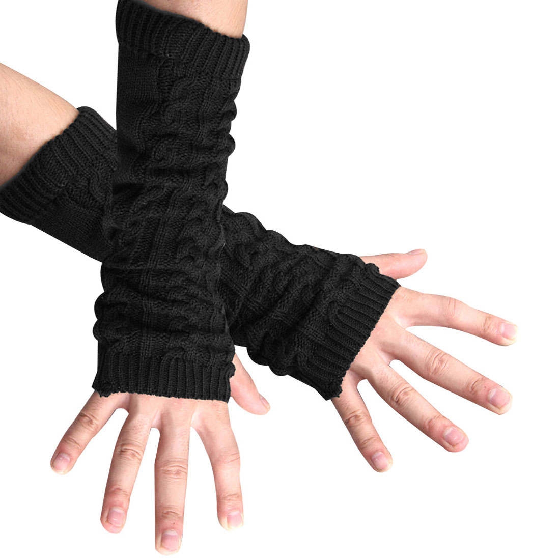 Black New Winter Fingerless Arm Warmer Long Stretch Gloves for Mens