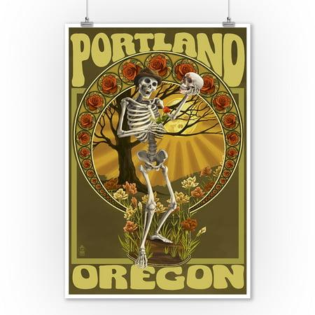 Portland, Oregon - Day of the Dead - Skeleton Holding Sugar Skull - Lantern Press Artwork (9x12 Art Print, Wall Decor Travel