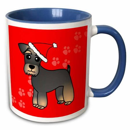 3dRose Miniature Schnauzer Banded Brown Base Coat (Salt and Pepper) - Cartoon Dog - Green with Santa Hat - Two Tone Blue Mug, 11-ounce](Salt And Pepper Costume Hats)