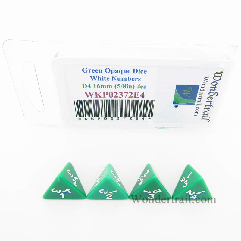 Green Opaque Dice with White Numbers D4 16mm (5/8in) Pack of 4 Wondertrail