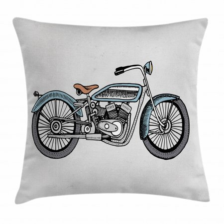 Motorcycle Throw Pillow Cushion Cover, Off Road Bike Motocross Racer Theme Transportation Rider Culture, Decorative Square Accent Pillow Case, 16 X 16 Inches, Pale Blue Grey and Black, by Ambesonne Black Diamond Off Road