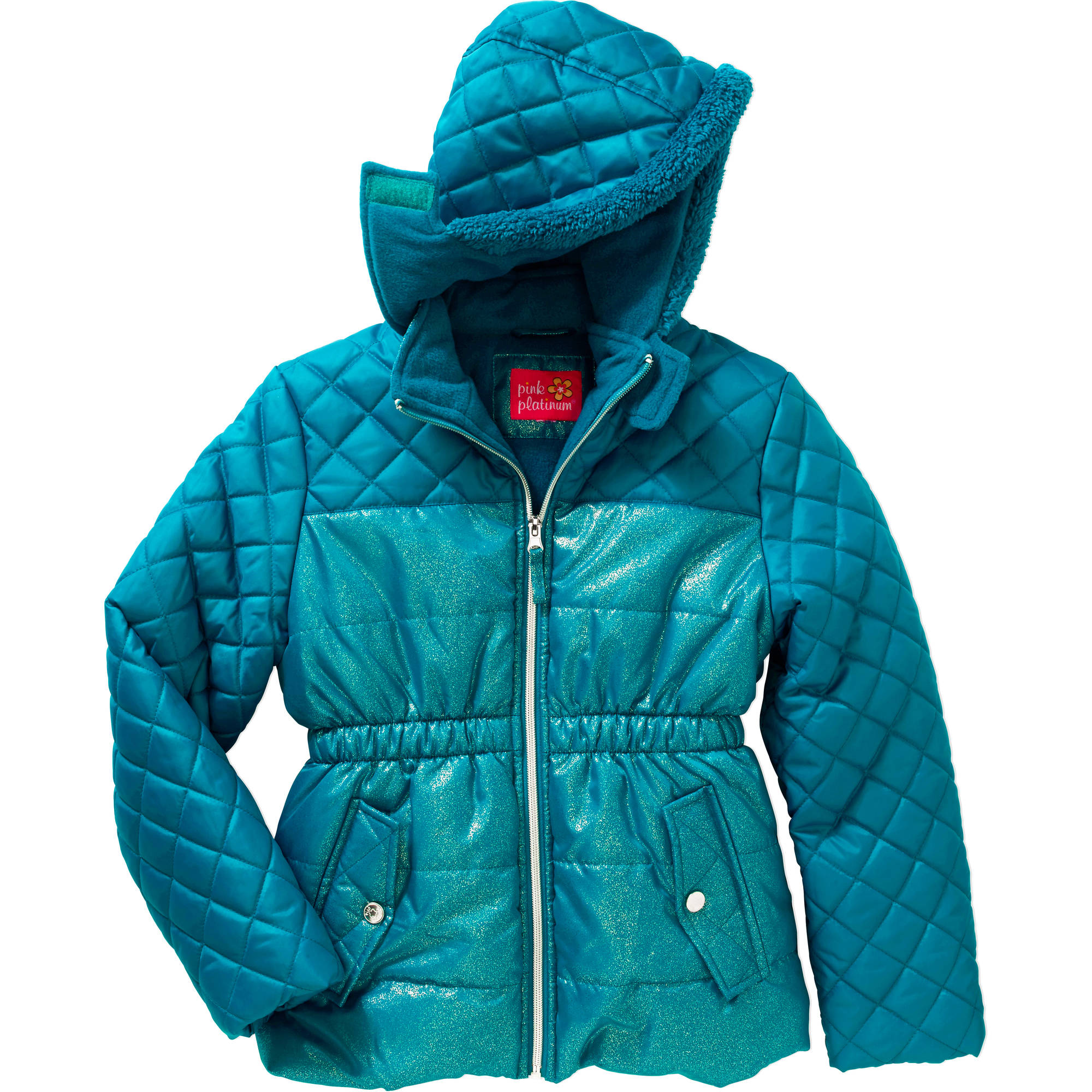 Girls' Spray Foil Quilted Puffer Jacket with Pockets and Faux Fur Trimmed Hood