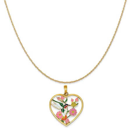 14k Yellow Gold Enameled Hummingbird with Flowers Heart Pendant on a Rope Chain Necklace, 18