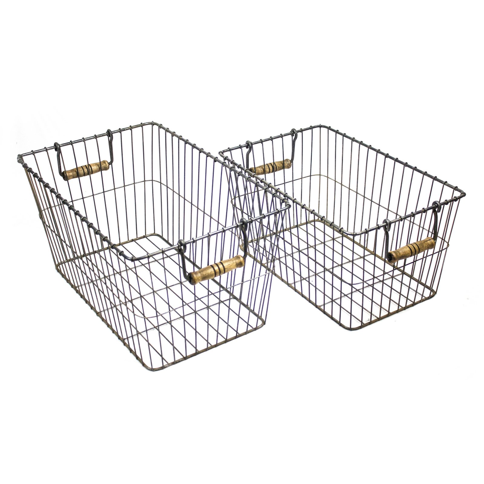 Sagebrook Home Rectangle Metal Baskets with Handle - Set of 2