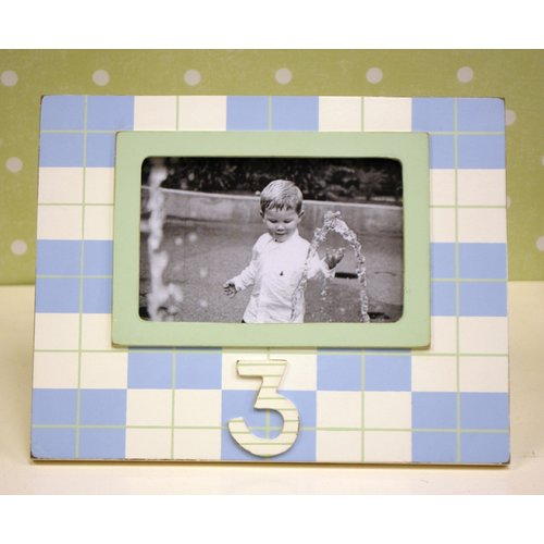 New Arrivals Plaid 3rd Birthday Picture Frame