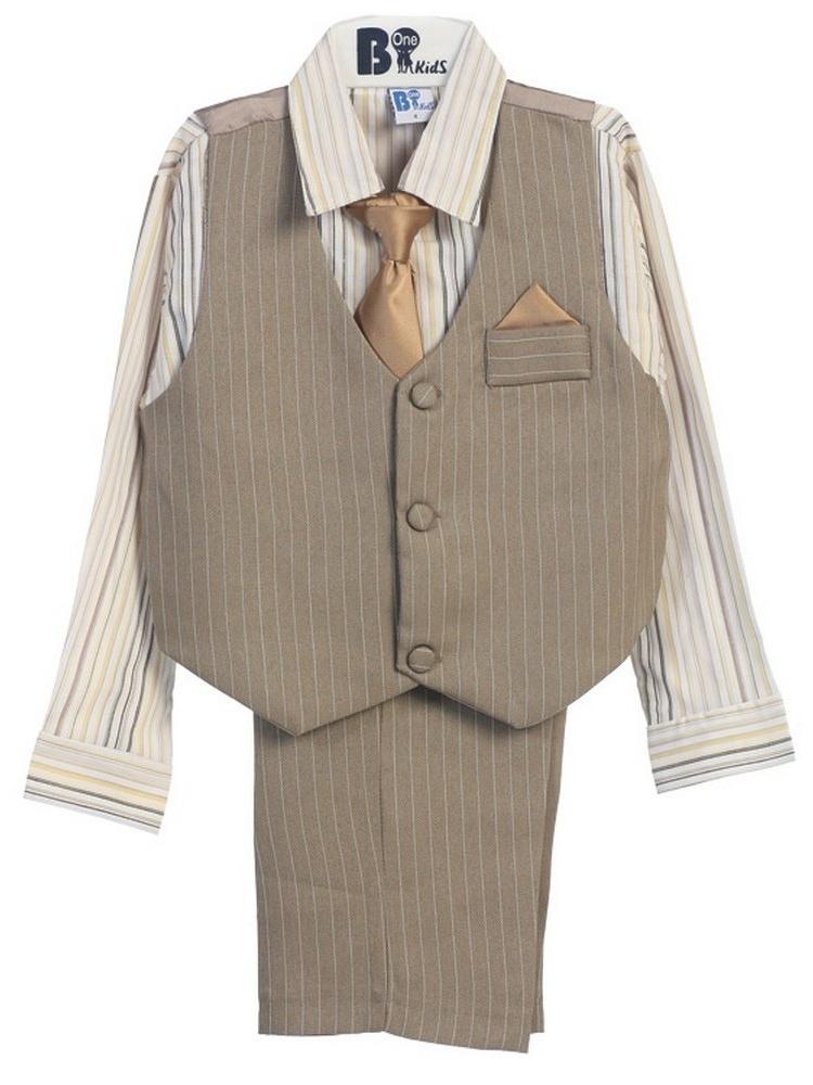 B-One Four Piece Off White Shirt Grey Khaki Baby Boys Vest Set 18-24M