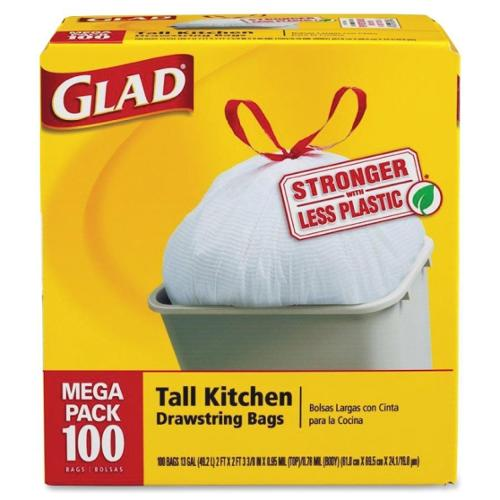 "Glad Tall Kitchen Drawstring Trash Bags - 13 gal - 24"" x 27 3/8"" - .95 mil - 100/Box - White"