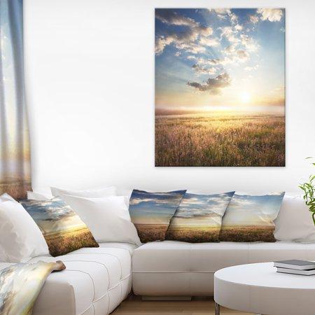 Mountain Meadow under overcast Sky - Landscape Canvas Art Print - image 3 de 3