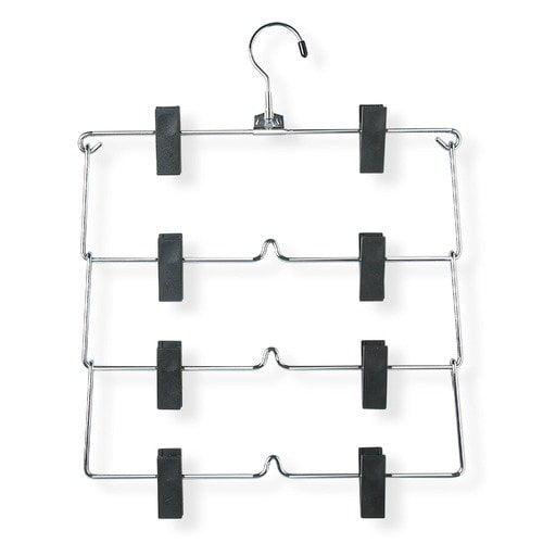 Honey Can Do Four Tier Fold Up Skirt Hanger in Chrome/Black (2 Pack)