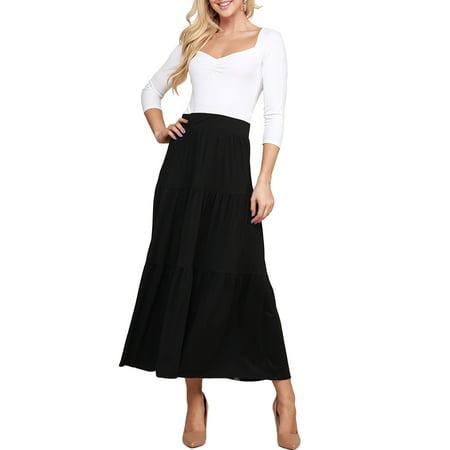 Doublju Women's Elastic Waist Layered Shirring Maxi Skirt with Plus Size