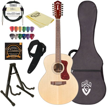 Ibanez Acoustic Electric Guitar - Guild F-1512E NAT Natural Jumbo Acoustic Electric Guitar with Guild Hard Case and ChromaCast Accessories