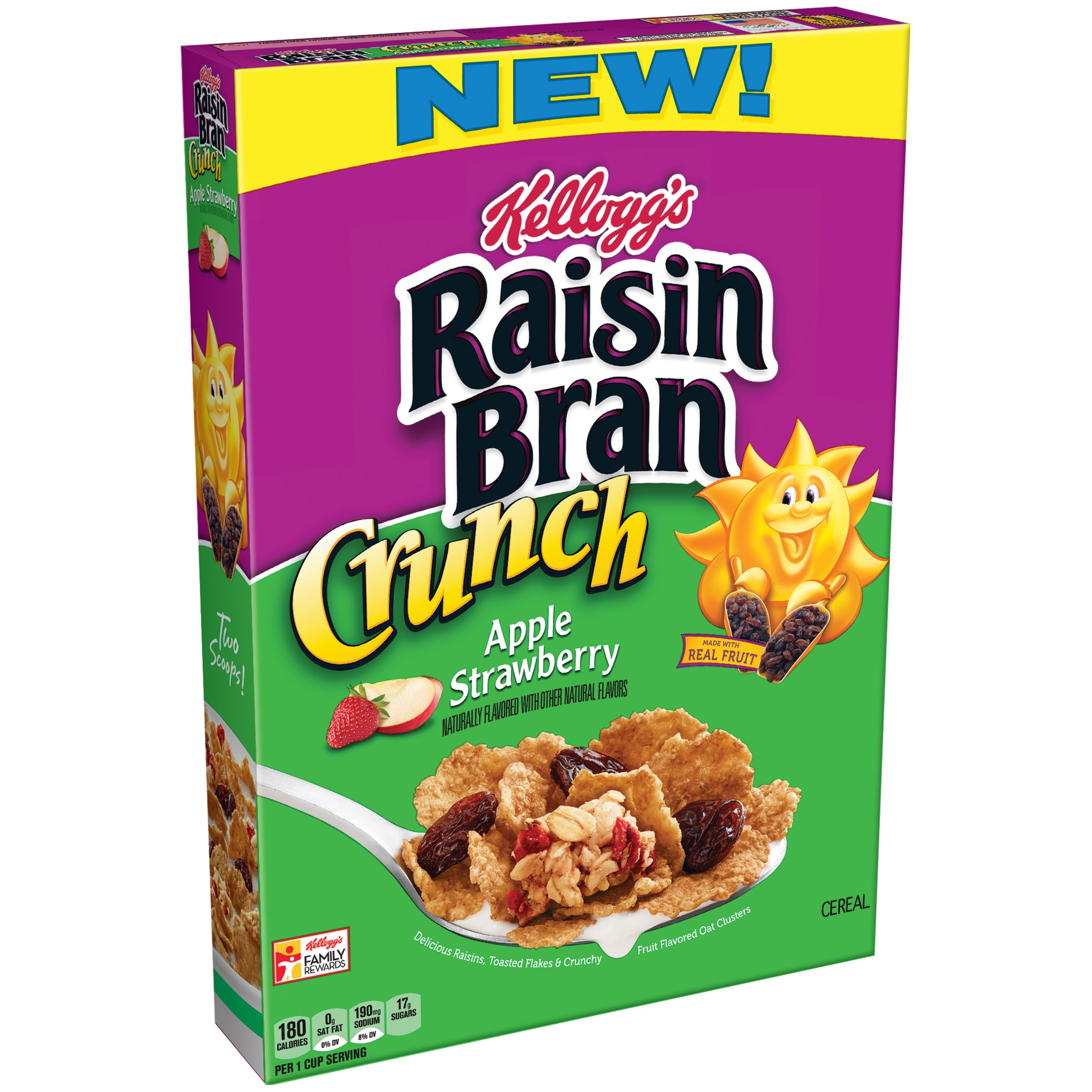 Kellogg's Raisin Bran Crunch, Apple Strawberry, 14.5 Oz