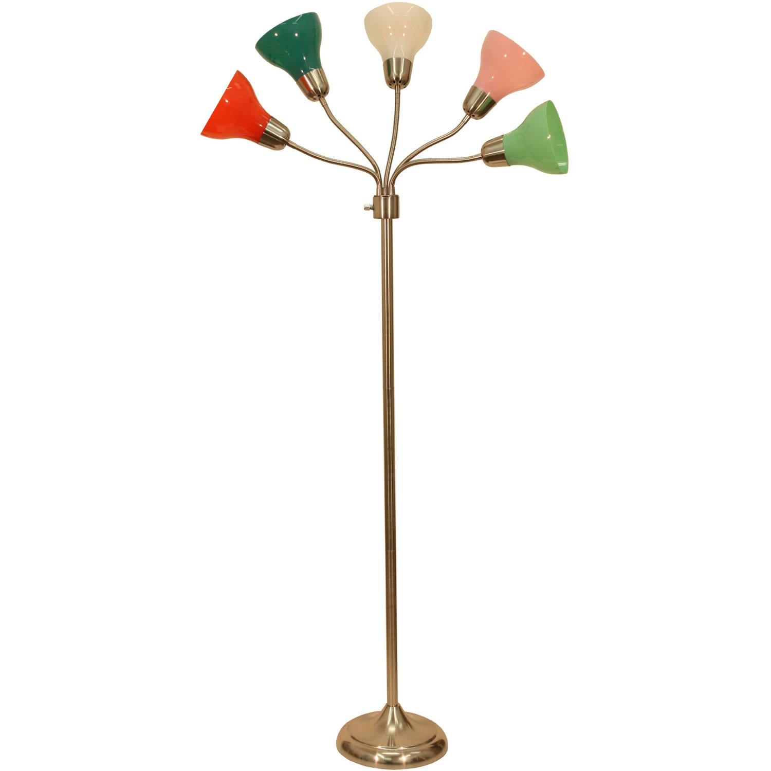 5 Light Floor Lamp with Multi-Colored Shades by Jimco Lamp