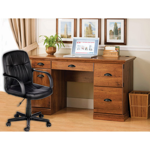 better homes and gardens desk and leather midback office chair value bundle