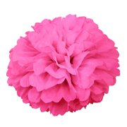 (6 pack) Tissue Paper Pom Pom, 16 in, Hot Pink, 1ct